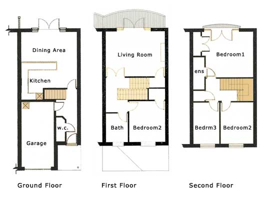 3 story narrow lot home floor plans pinterest traditional for Three story townhouse floor plans